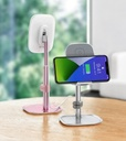 Baseus Telescopic Desktop Bracket phone holder wireless Qi charger 15 W with USB cable pink (SUWY-D0R)