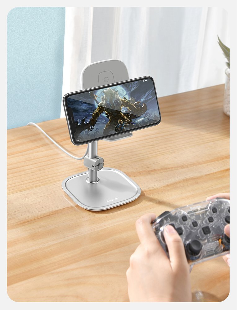 Baseus Telescopic Desktop Bracket phone holder wireless Qi charger 15 W with USB cable silver (SUWY-D0S)