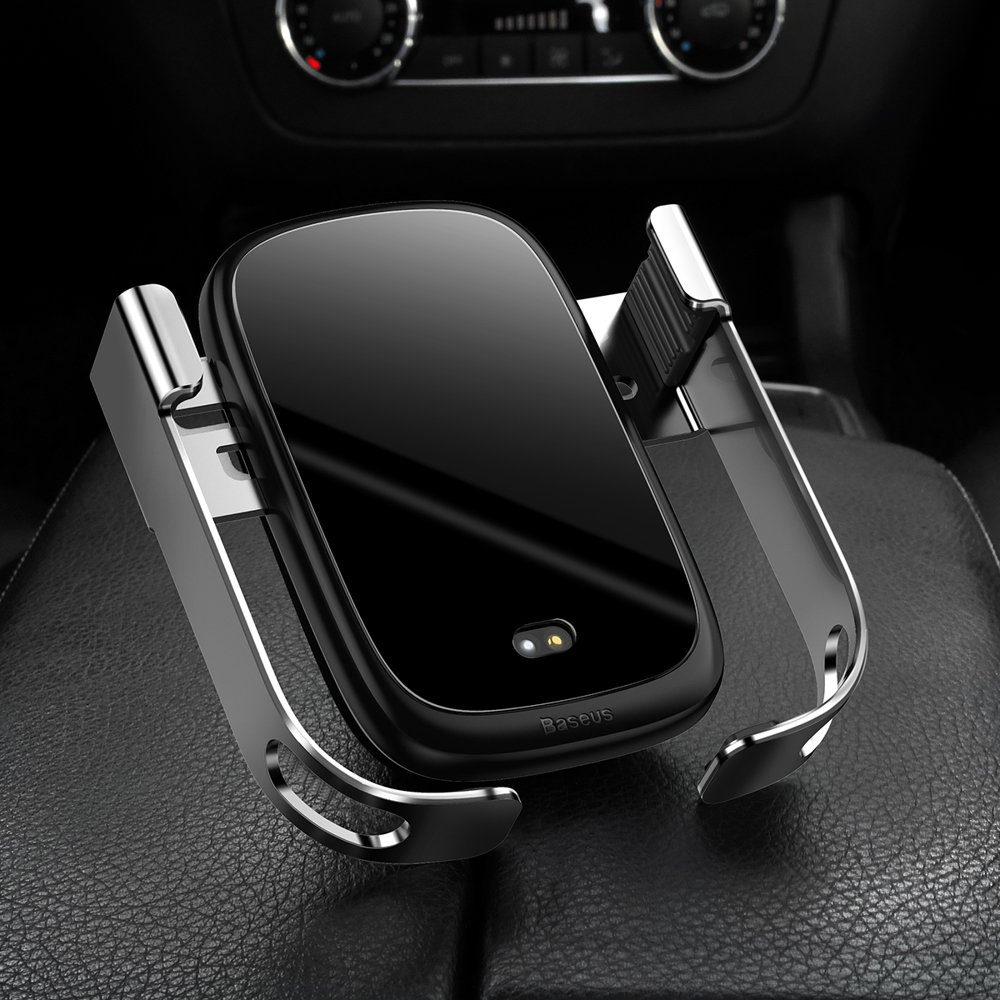 Baseus Rock Smart Vehicle Bracket Wireless Charger 10W Electric Auto Car Mount Bracket Air Vent Holder Qi Charger 10W with Infrared silver (WXHW01-0S)