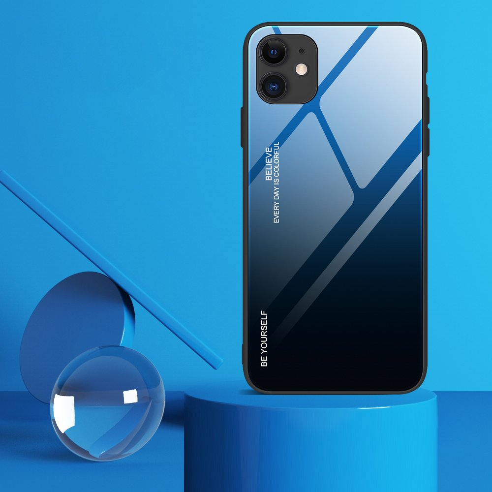 Gradient Glass Durable Cover with Tempered Glass Back iPhone 12 Pro / iPhone 12 black-blue