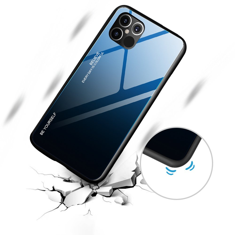 Gradient Glass Durable Cover with Tempered Glass Back iPhone 12 Pro Max black-blue