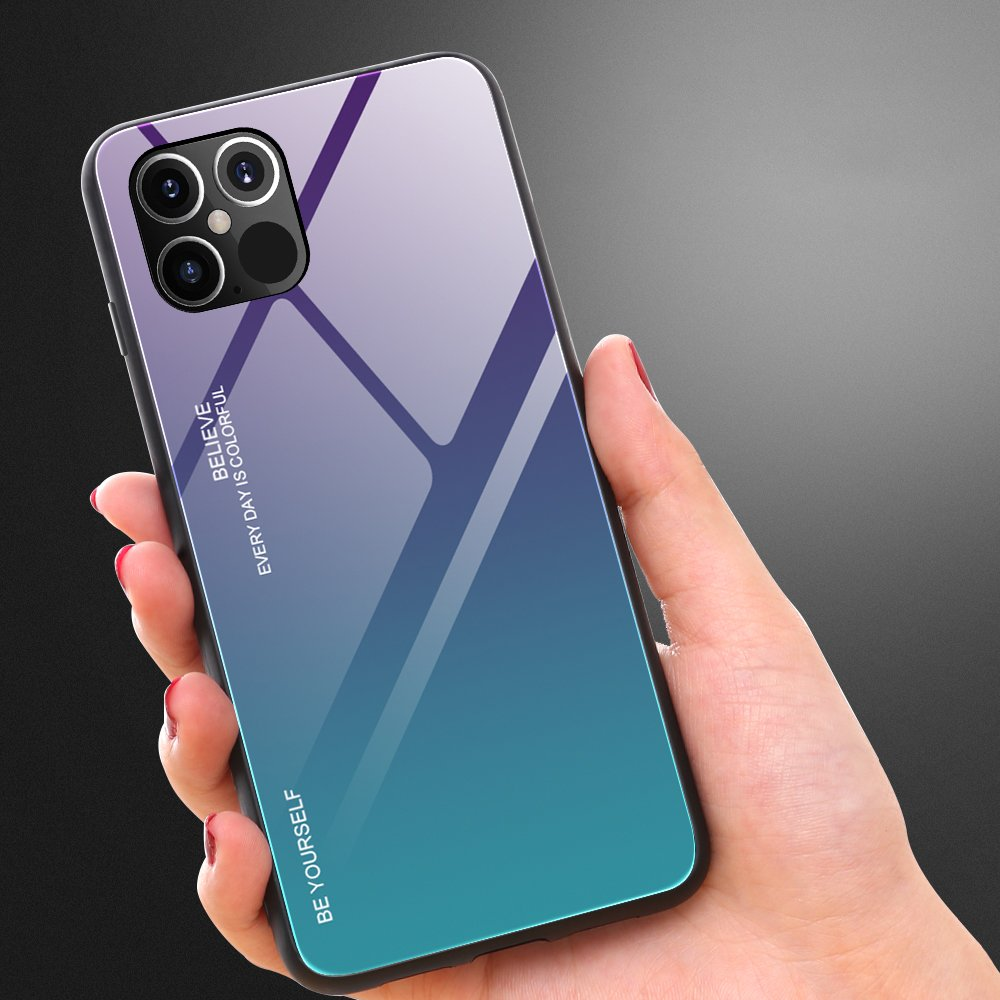 Gradient Glass Durable Cover with Tempered Glass Back iPhone 12 Pro Max pink-purple