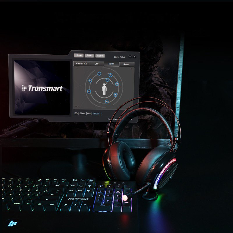 Tronsmart Glary Gaming RGB Headset circumaural USB headphones with microphone and remote control for players black (333620)