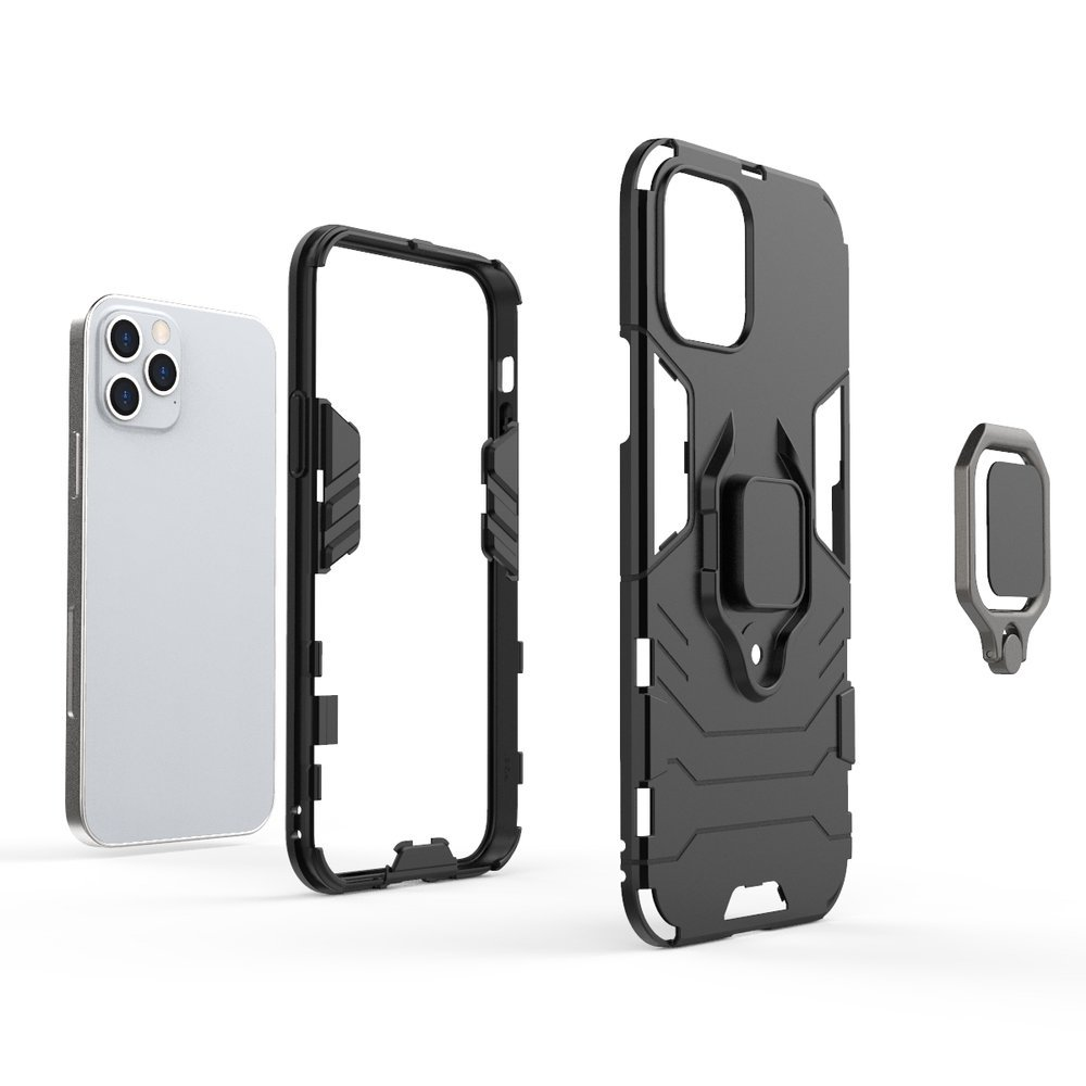 Ring Armor Case Kickstand Tough Rugged Cover for iPhone 12 Pro / iPhone 12 black