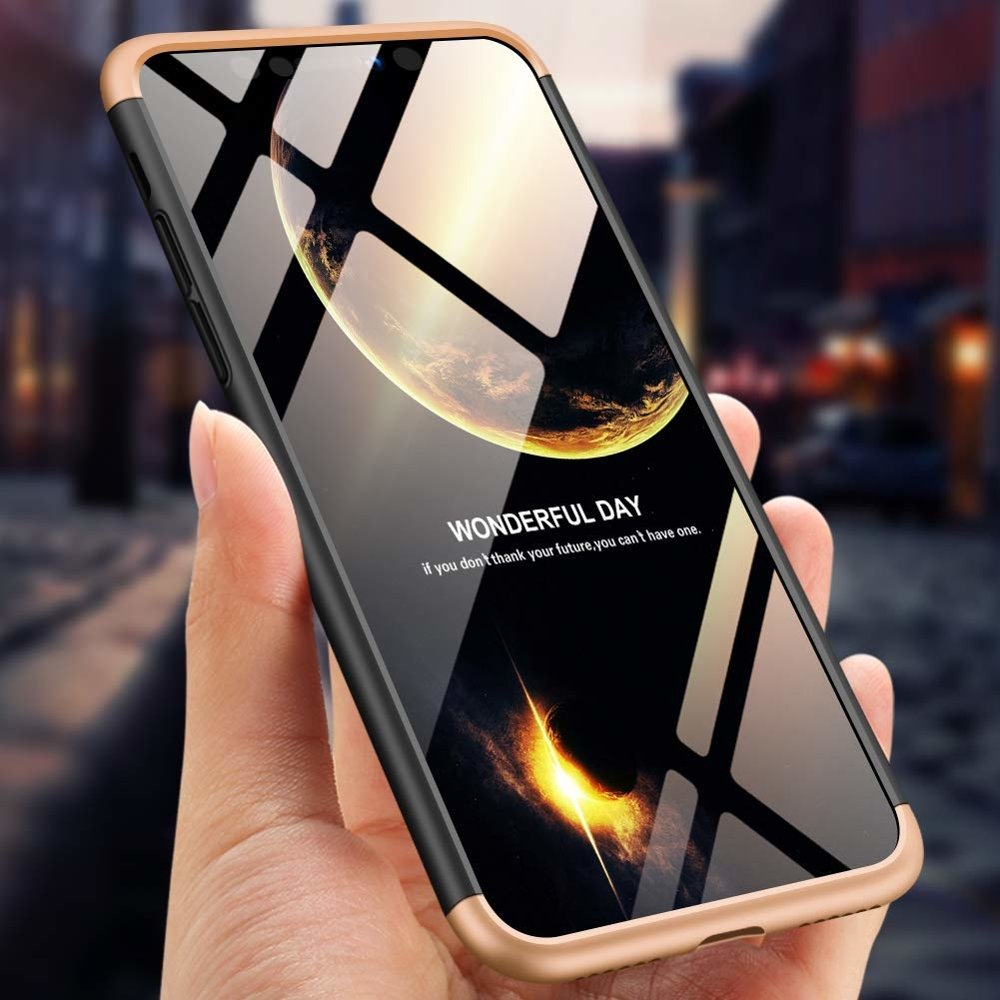 GKK 360 Protection Case Front and Back Case Full Body Cover iPhone XS Max black-gold