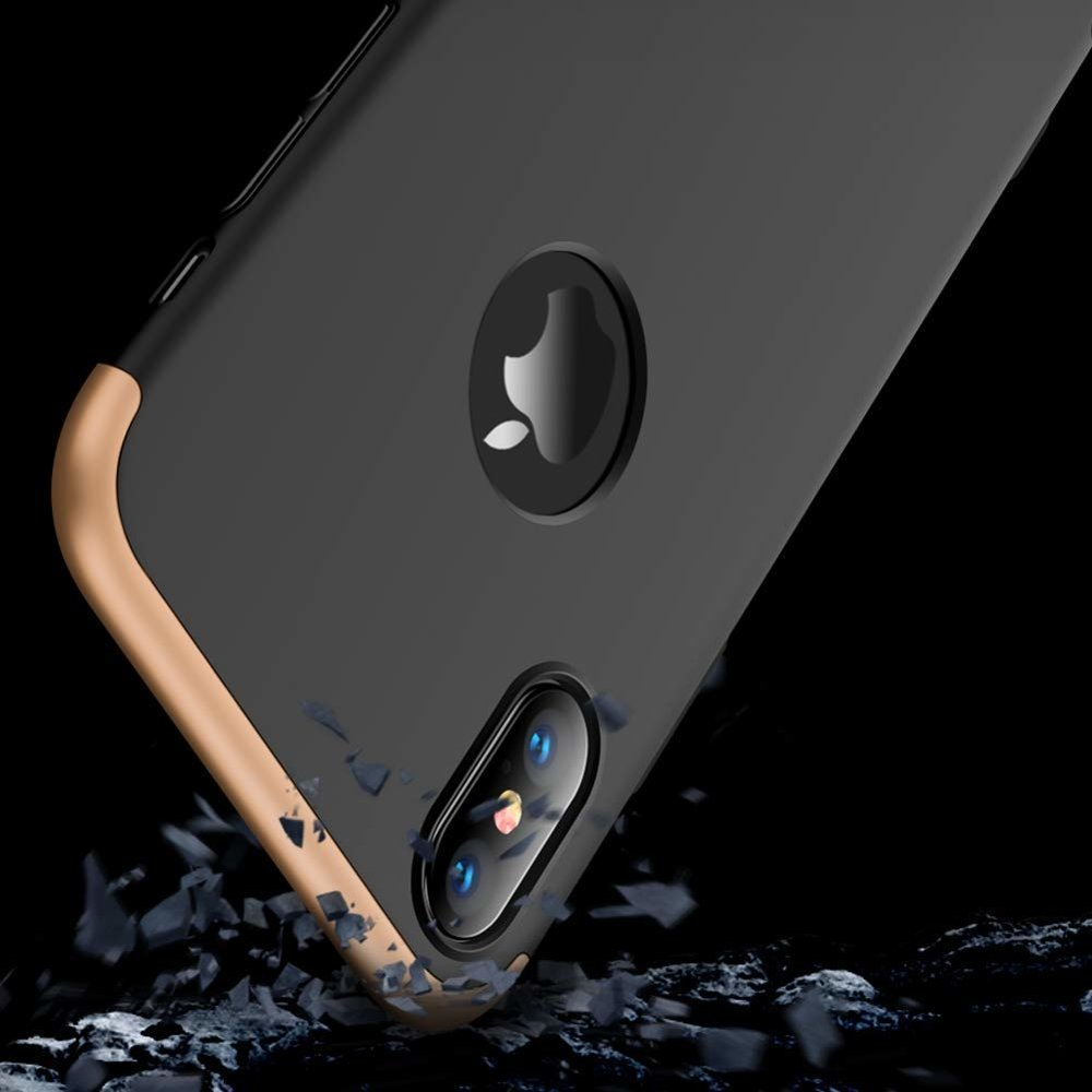 GKK 360 Protection Case Front and Back Case Full Body Cover iPhone XS Max black-gold (logo hole)
