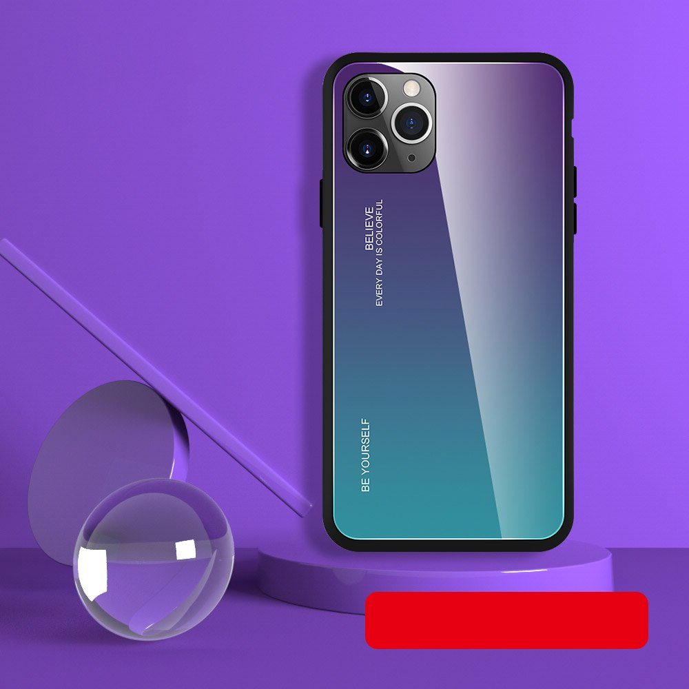 Gradient Glass Durable Cover with Tempered Glass Back iPhone 11 green-purple