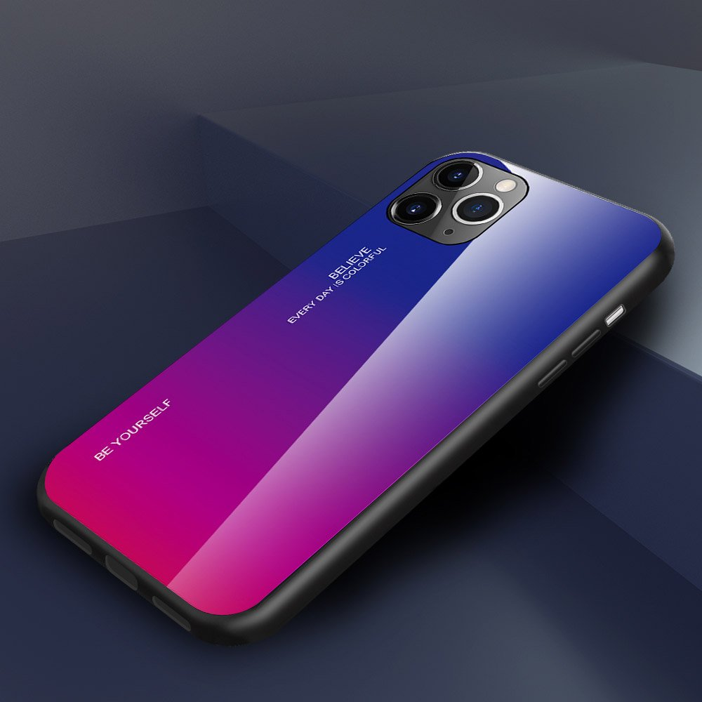Gradient Glass Durable Cover with Tempered Glass Back iPhone 11 Pro green-purple