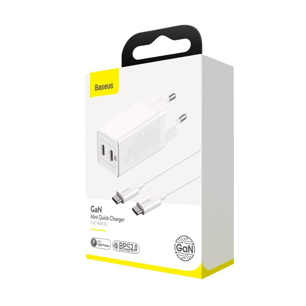 Baseus GaN fast wall charger PPS 60 W (20 V / 3 A) 2x USB Typ C Quick Charge 3.0 Power Delivery SCP FCP AFC (gallium nitride) white (CCGAN-M02)