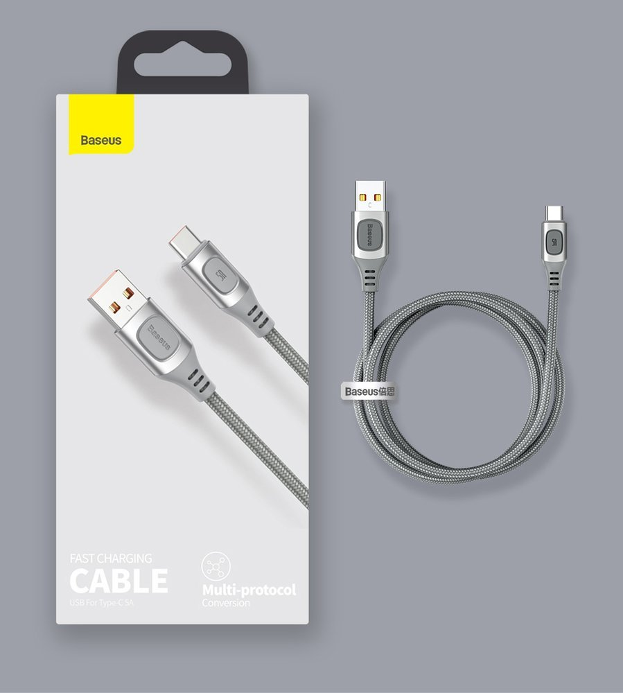 Baseus USB - USB Type C cable Quick Charge, Power Delivery 5 A 2 m silver (CATSS-B0S)