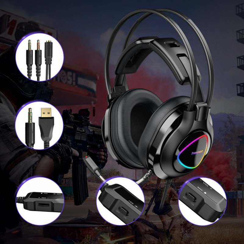 Tronsmart Glary Alpha Gaming RGB Headset circumaural 3,5 mm mini jack headphones with microphone and remote control for players black (370406)