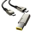 Baseus 2in1 USB - USB Typ C data charging cable / Lenovo (square plug) DC Adapter laptop plug 2 m 100 W 5 A black (CA1T2-B01)