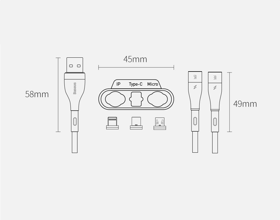 Baseus Zinc 3in1 USB - Lightning / USB Typ C / micro USB data charging cable Quick Charge AFC 1 m 5 A 480 Mbps white (CA1T3-B02)