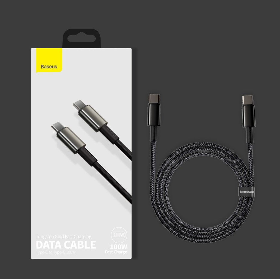 Baseus USB Type C - USB Type C cable Power Delivery Quick Charge 100 W 5 A 1 m black (CATWJ-01)