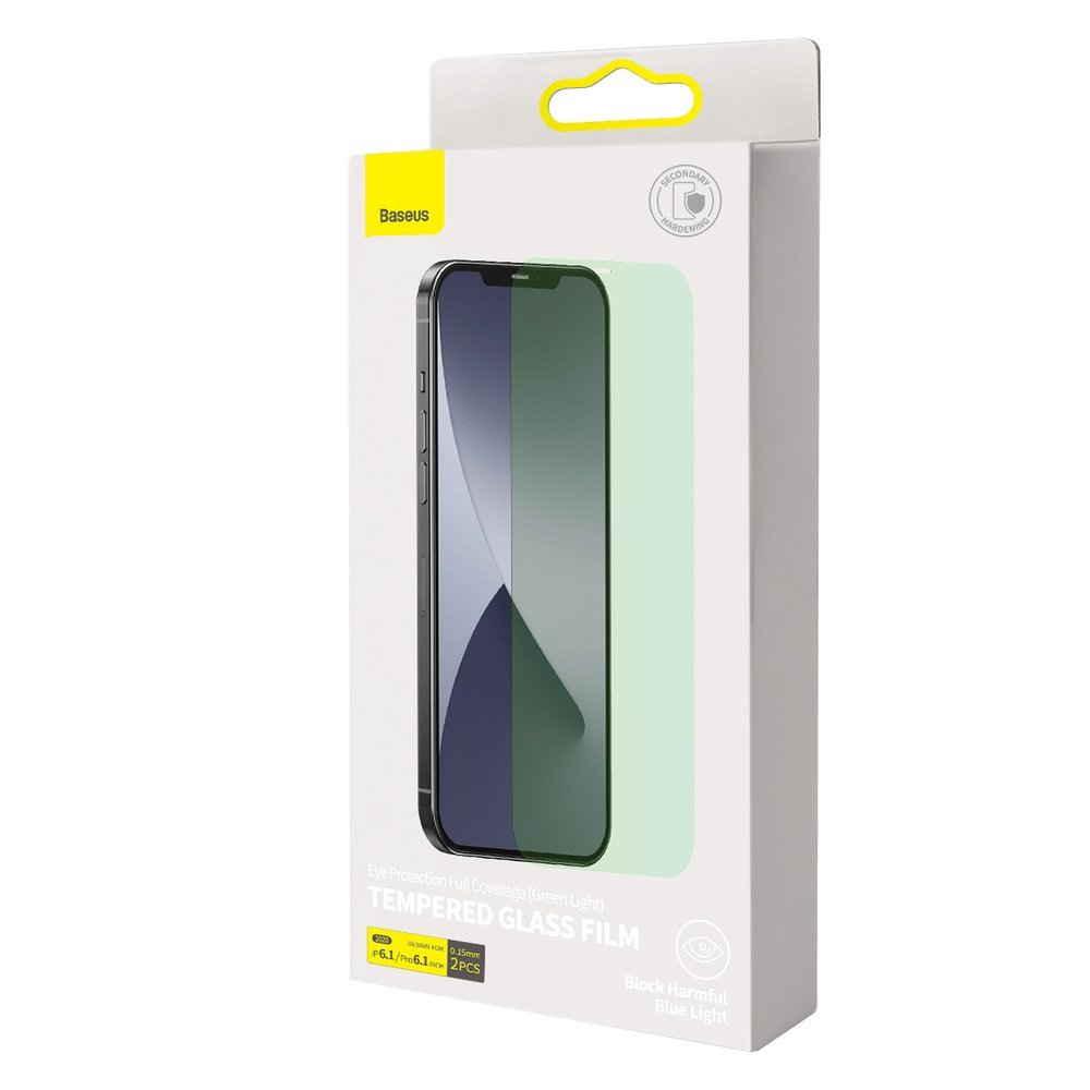 Baseus 2x 0,15 mm Eye Protection Full Coverage Green Tempered Glass Film with Anti Blue Light Filter for iPhone 12 Pro / iPhone 12 (SGAPIPH61P-LQ02)