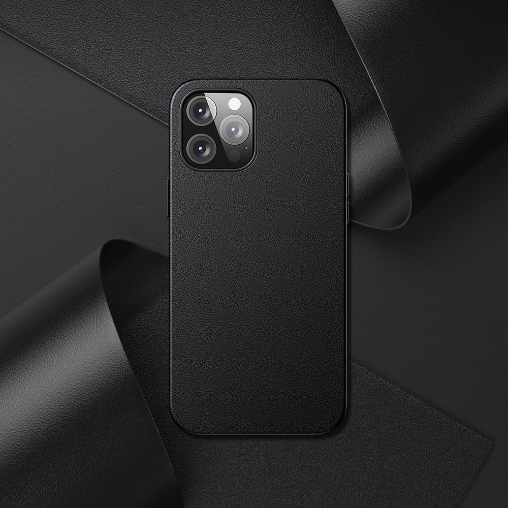 Baseus Magnetic Leather Case Soft PU leather Cover for iPhone 12 Pro Max black (MagSafe compatible)