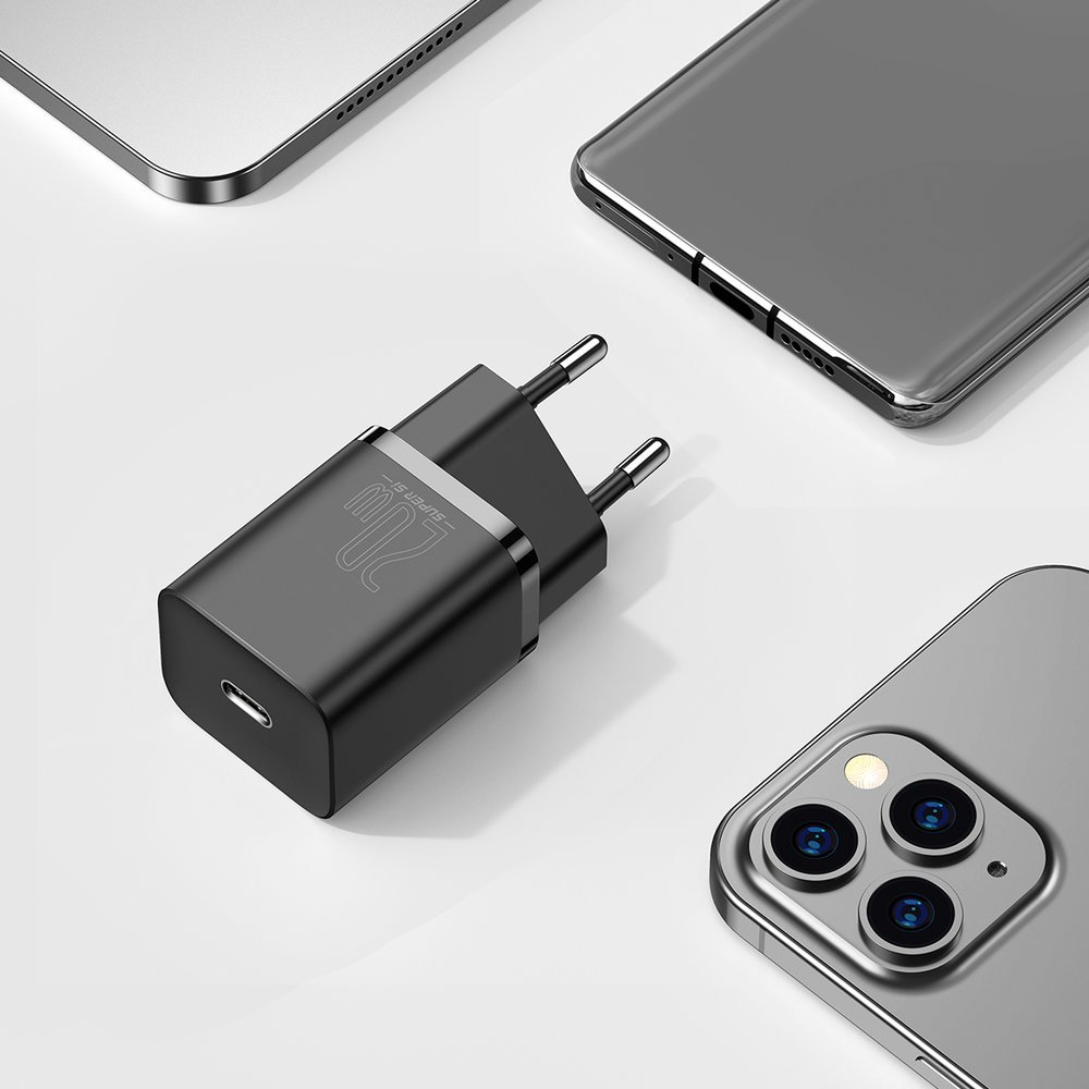 Baseus Super Si 1C fast wall charger USB Type C 20 W Power Delivery black