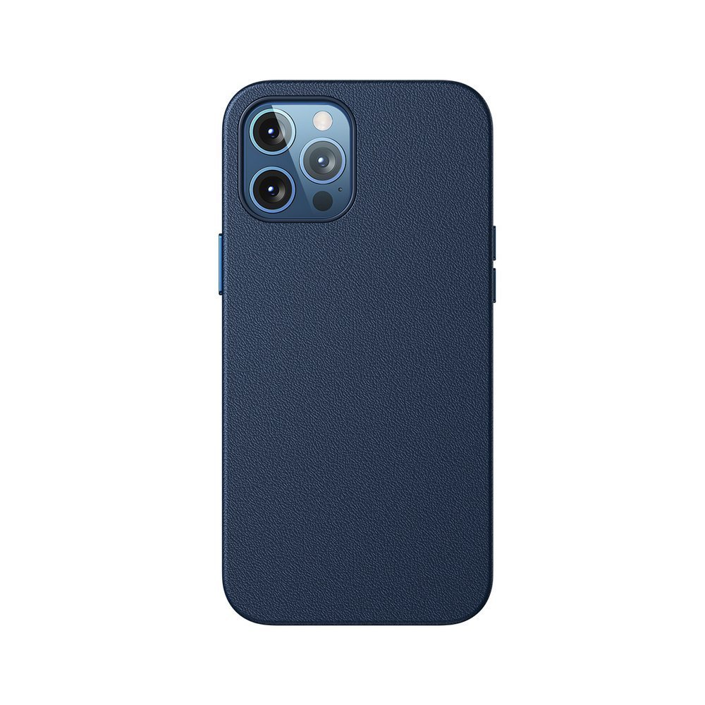 Baseus Magnetic Leather Case Soft PU leather Cover for iPhone 12 Pro Max blue (MagSafe compatible)