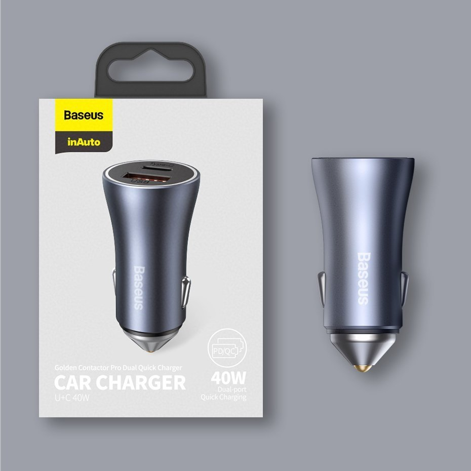 Baseus Golden Contactor Pro quick car charger USB Type C / USB 40 W Power Delivery 3.0 Quick Charge 4+ SCP FCP AFC + USB Typ C - Lightning cable