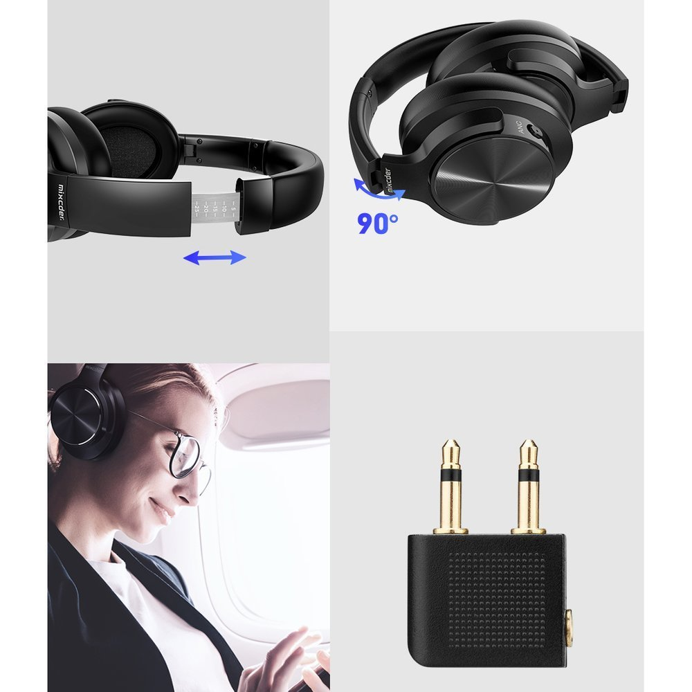 Mixcder Wireless Bluetooth 5.0 ANC Over-Ear Headphones (Active Noise Canceling) Black
