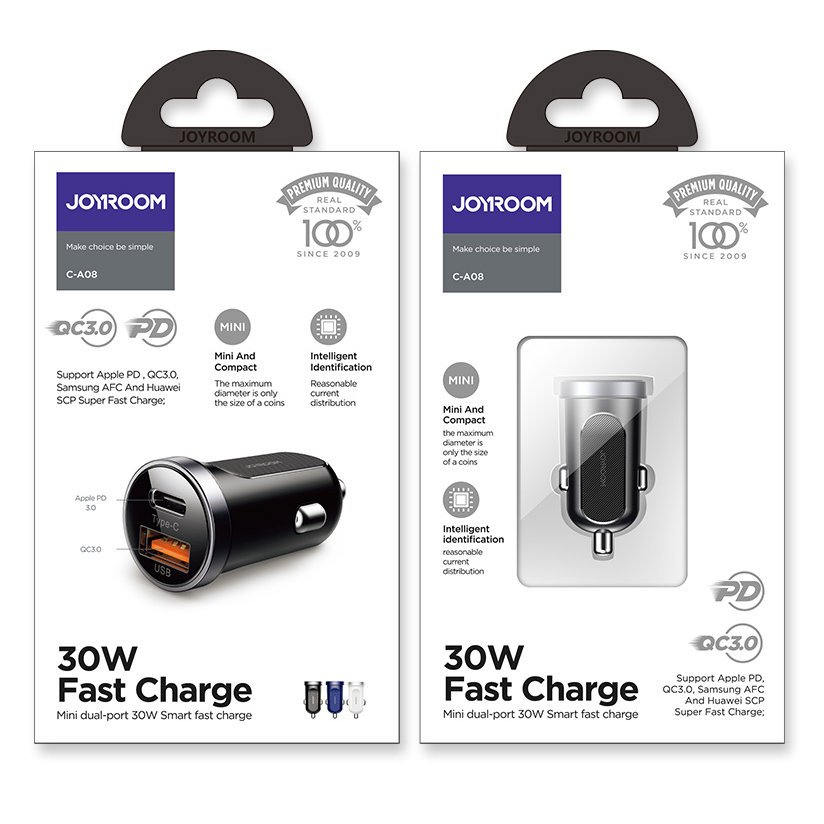 Joyroom mini dual port USB Type C / USB 30 W 5 A smart car charger Power Delivery Quick Charge 3.0