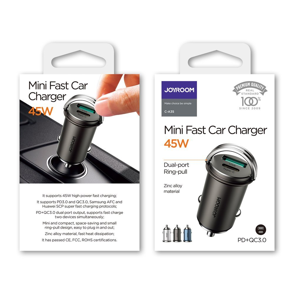 Joyroom mini dual port USB Type C / USB 45 W 5 A smart car charger Power Delivery Quick Charge 3.0 AFC SCP