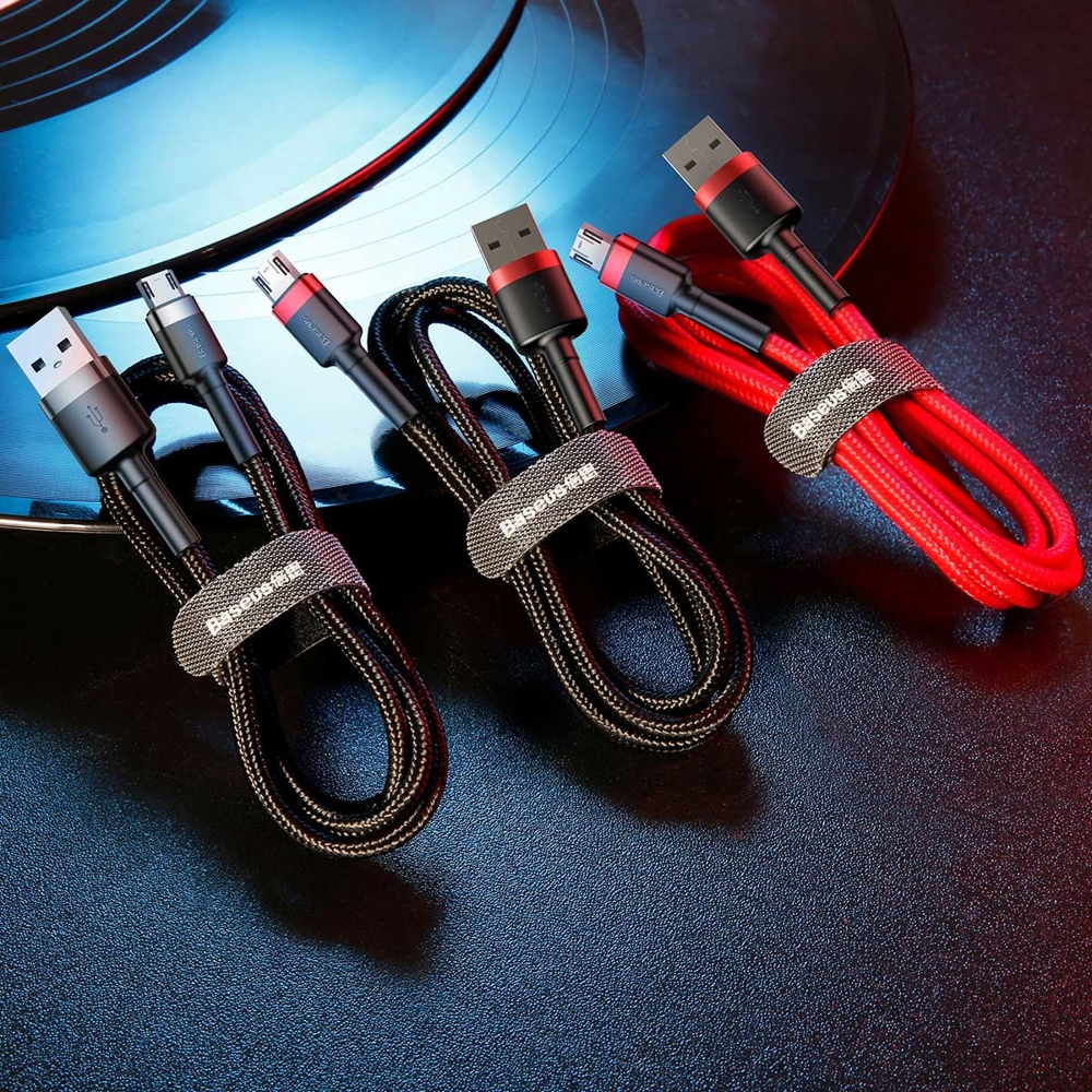 Baseus Cafule Cable Durable Nylon Braided Wire USB / micro USB QC3.0 2.4A 1M black-grey