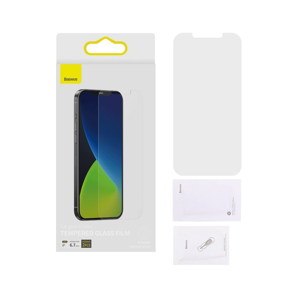 Baseus 2x 0,25 mm frosted tempered glass iPhone 12 Pro Max Transparent
