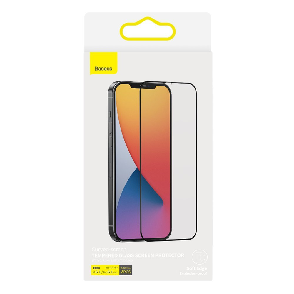 Baseus 2x Full screen 0,23 mm tempered glass with a frame iPhone 12 Pro / iPhone 12 Black