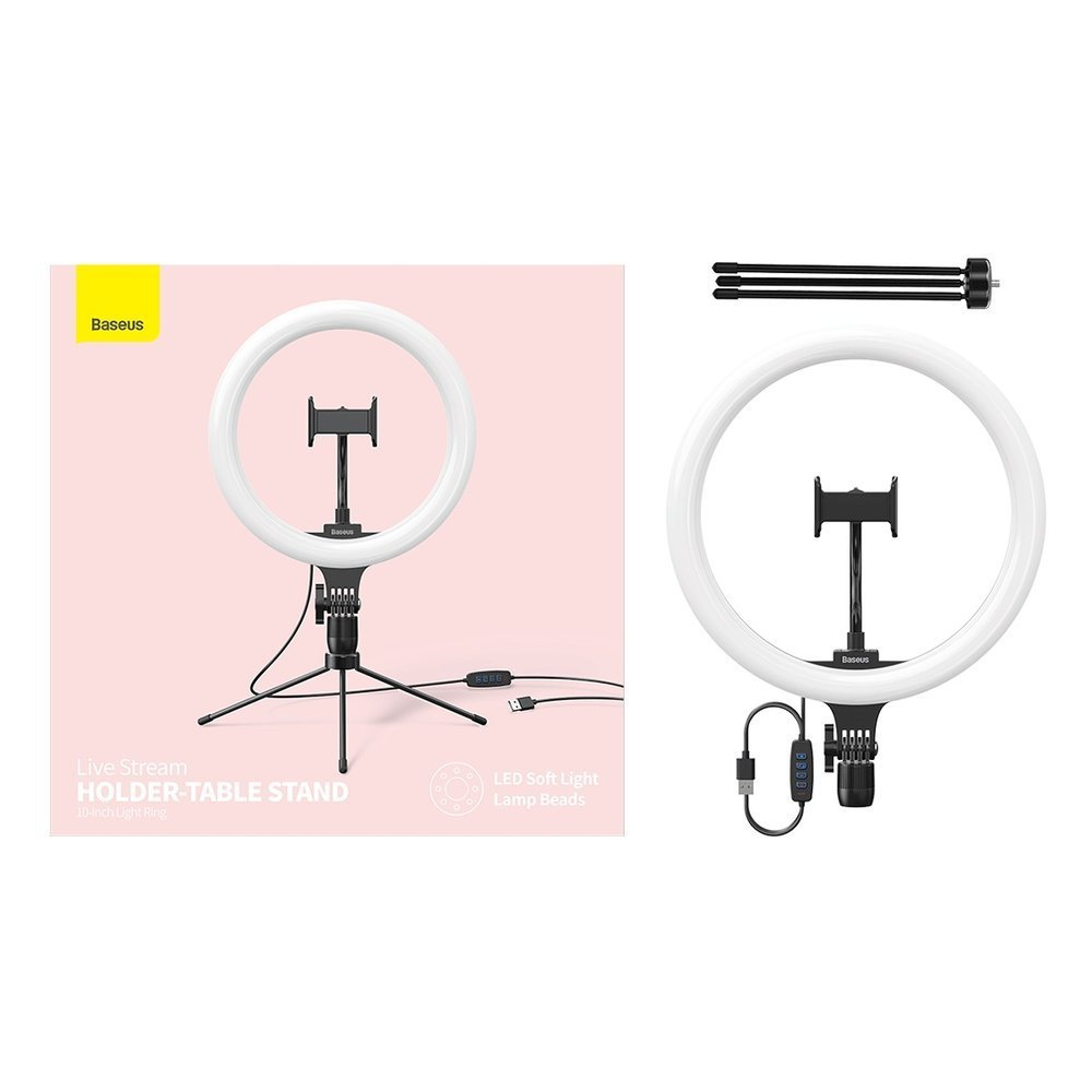 Baseus photo ring flash fill light LED lamp 10'' for smartphone (YouTube, TikTok) + mini desk tripod black
