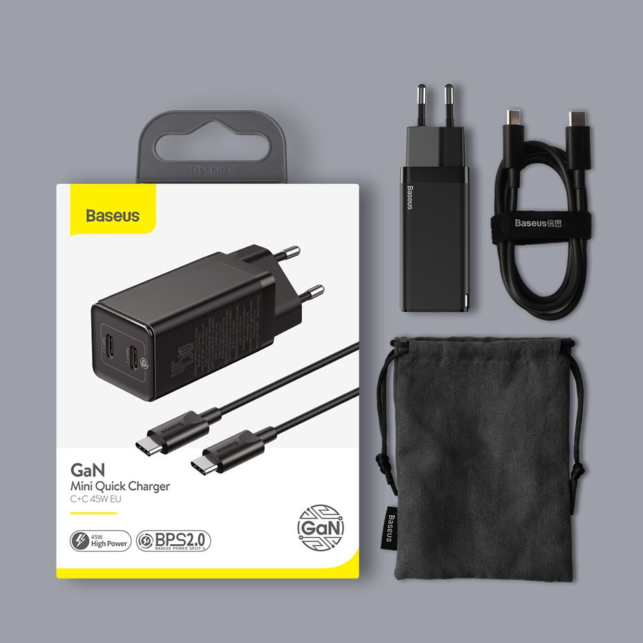 Baseus GaN fast wall charger PPS 45 W (20 V / 3 A) 2x USB Typ C Quick Charge 3.0 Power Delivery SCP FCP AFC (gallium nitride)