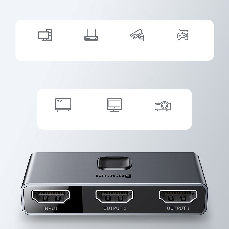 Baseus bidirectional HDMI - 2x HDMI splitter switcher 4K / 30 Hz gray