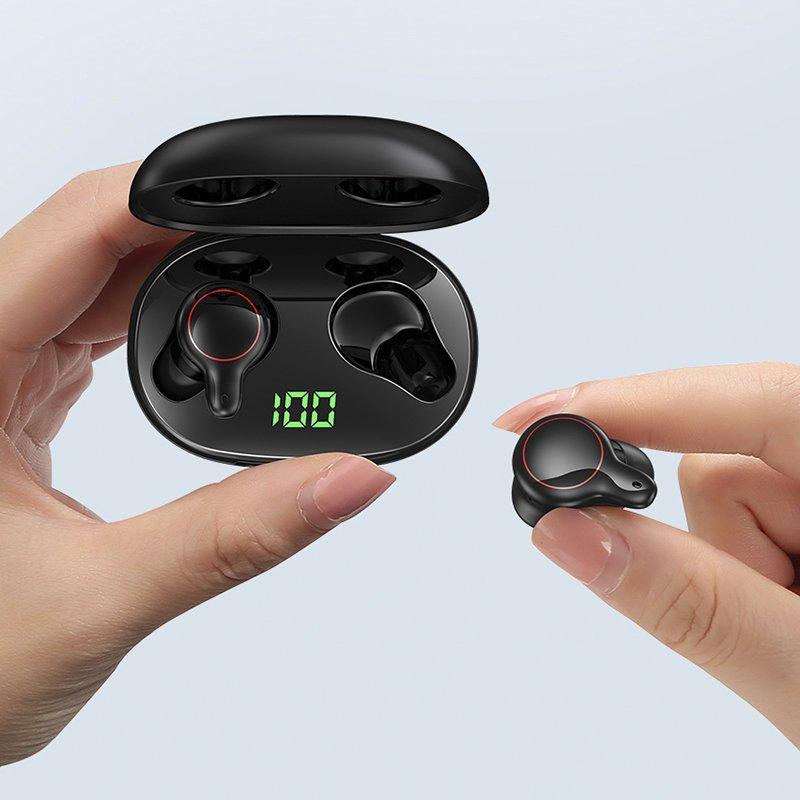 Joyroom LED Display Waterproof IPX5 Wireless Bluetooth 5.0 TWS Earphone black (JR-T12)
