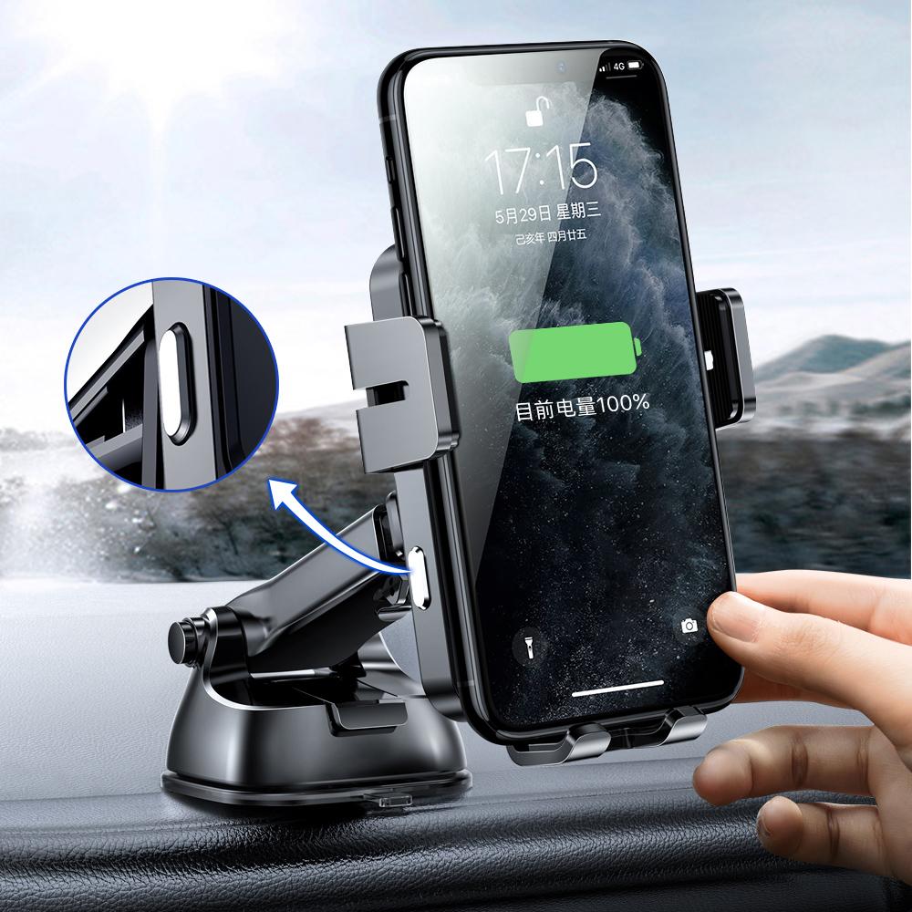 Joyroom Three Axis Qi wireless 15 W automatic car charger electric phone holder (dashboard) black