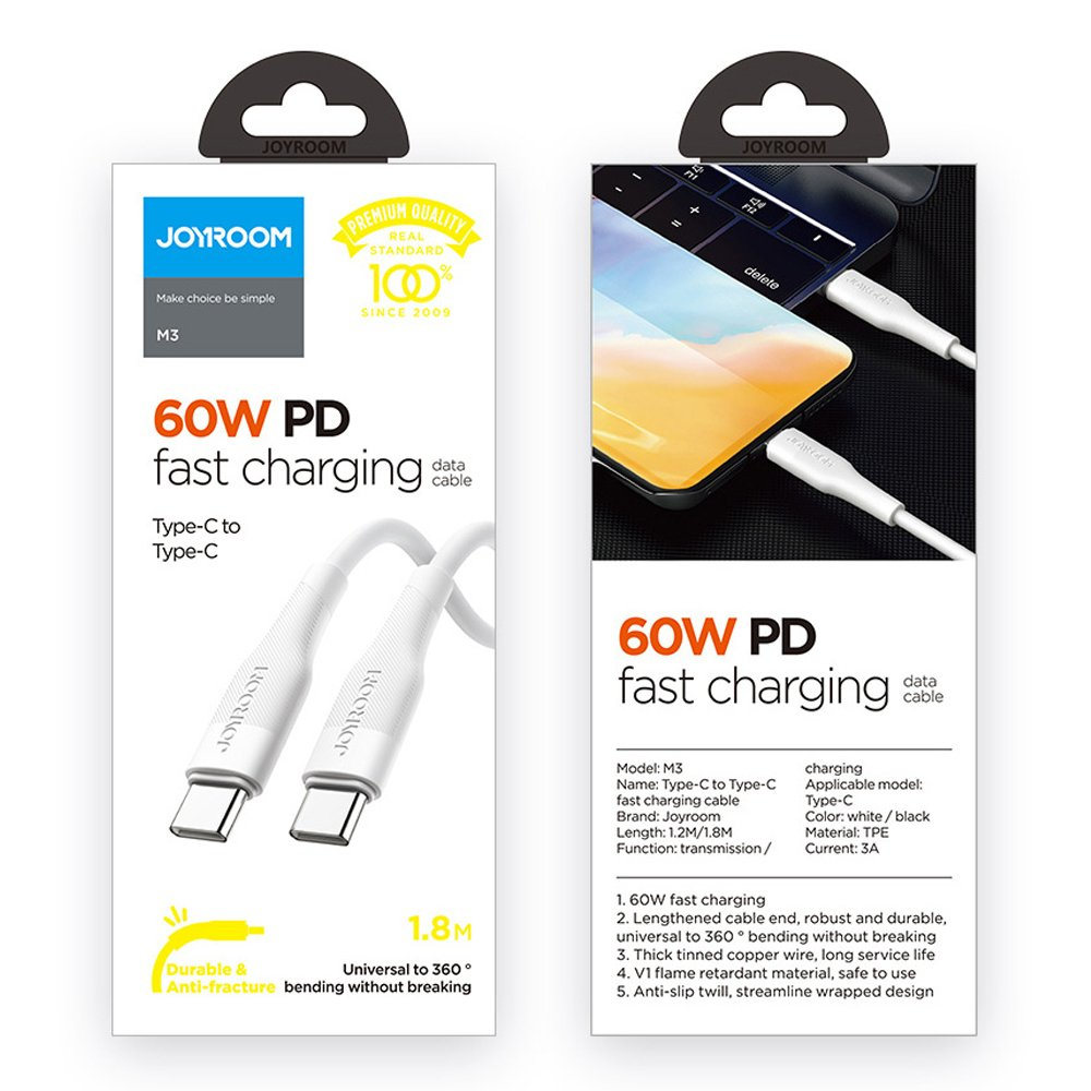 Joyroom fast charging USB - USB Type C cable Quick Charge Power Delivery 3 A 60 W 1,2 m