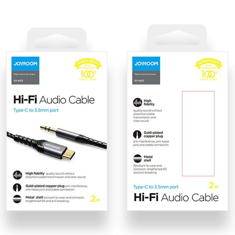 Joyroom stereo audio AUX cable 3,5 mm mini jack - USB Type C for smartphone 2 m
