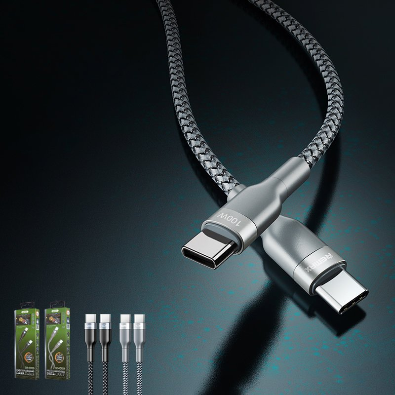 REMAX Sury 2 Nylon Braided Wire USB Typ C PD Power Delivery 2.0 100W 20V 5A 1m silver (RC-174c)