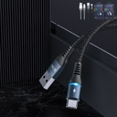 Remax Durable Nylon Braided Wire USB - USB Type C cable with LED light 2,4 A 1 m black