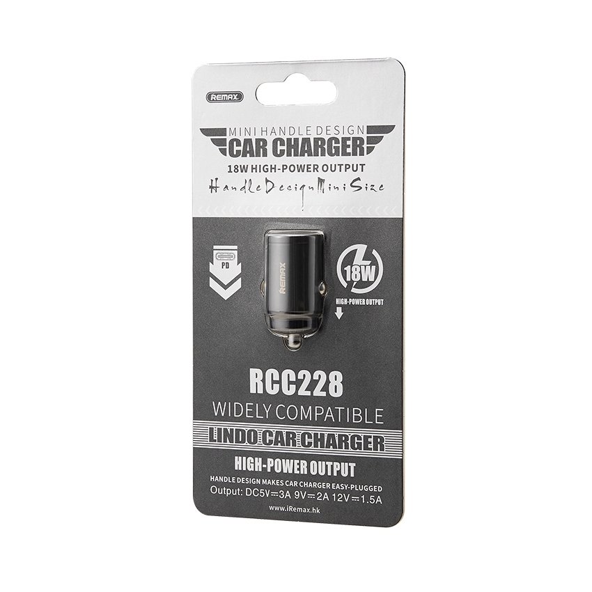 Remax Mini fast Car Charger USB Type C Port 18W Power Delivery PD black