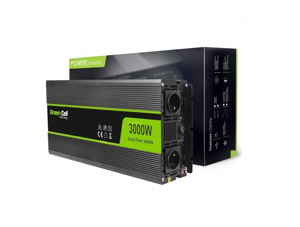 Napetostni avtomobilski pretvornik Green Cell ® 12V do 220V, 3000W / 6000W