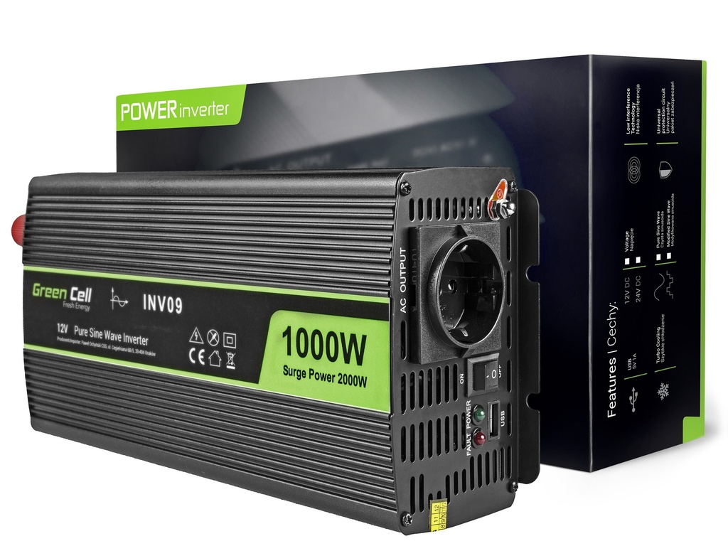 Napetostni avtomobilski pretvornik Green Cell ® 12V do 230V, polni sinusni val 1000W / 2000W