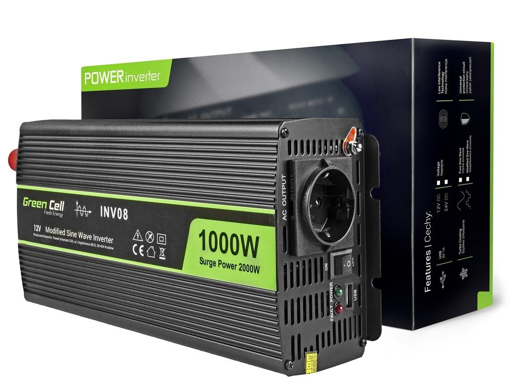 Napetostni avtomobilski pretvornik Green Cell ® 12V do 220V, 1000W / 2000W