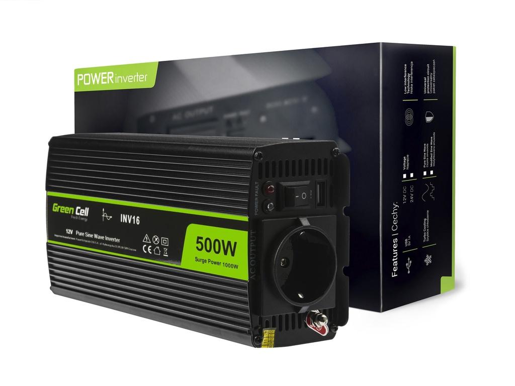 Napetostni avtomobilski pretvornik Green Cell ® 12V do 230V, polni sinusni val 500W