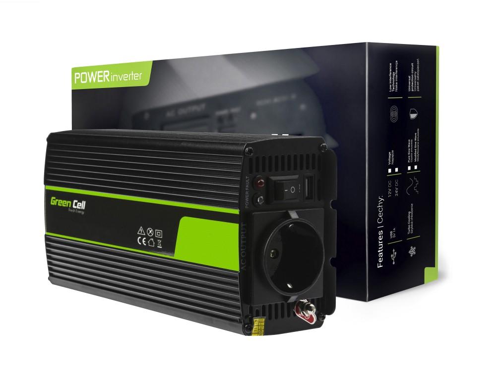 Napetostni avtomobilski pretvornik Green Cell ® 12V do 230V, 500W / 1000W