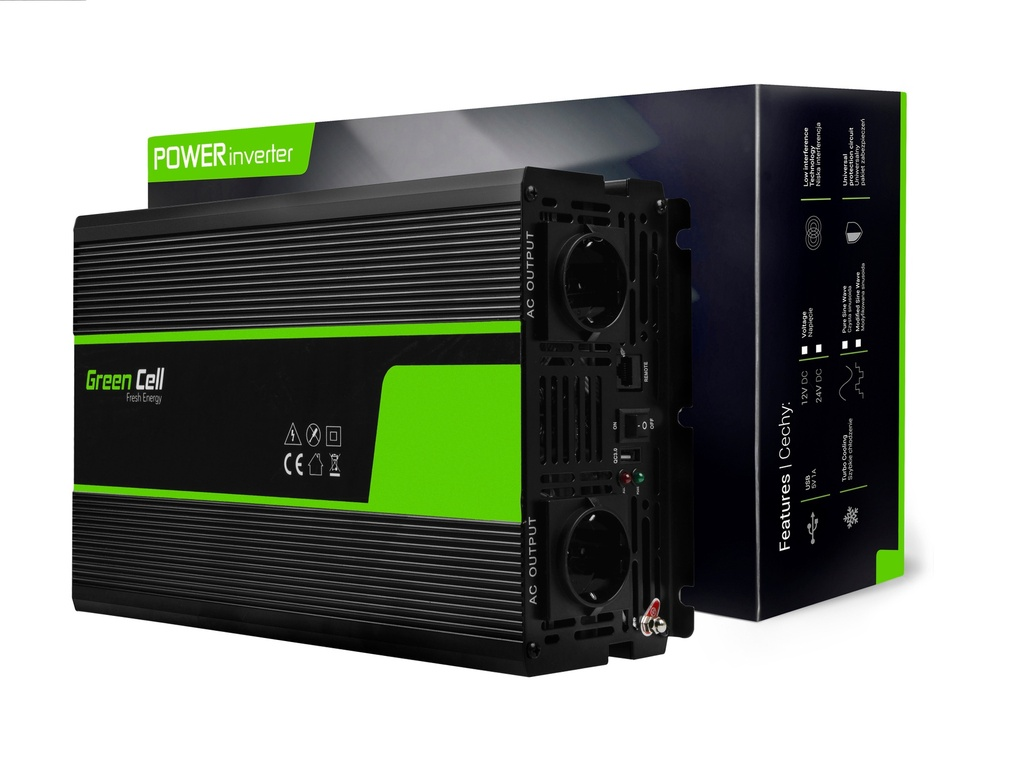 Napetostni avtomobilski pretvornik Green Cell ® 24V do 230V Čisti sinusoid 2000W