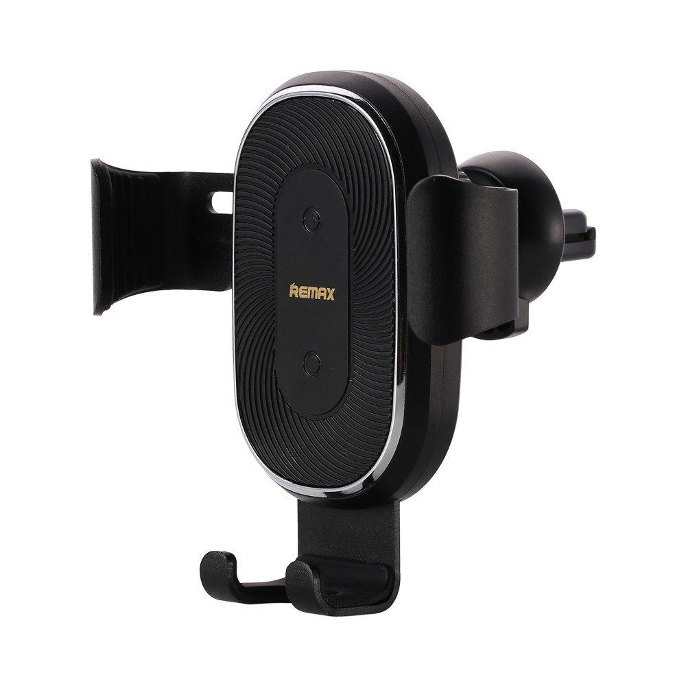 Remax brezžični polnilnik Gravity Car Mount držalo za telefon držalo za zračnike + polnilnik Qi 10W črna