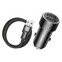 Baseus Small Screw 3.4A Univerzalni avtomobilski polnilnik 2x USB + USB kabel tipa C 1m 2A
