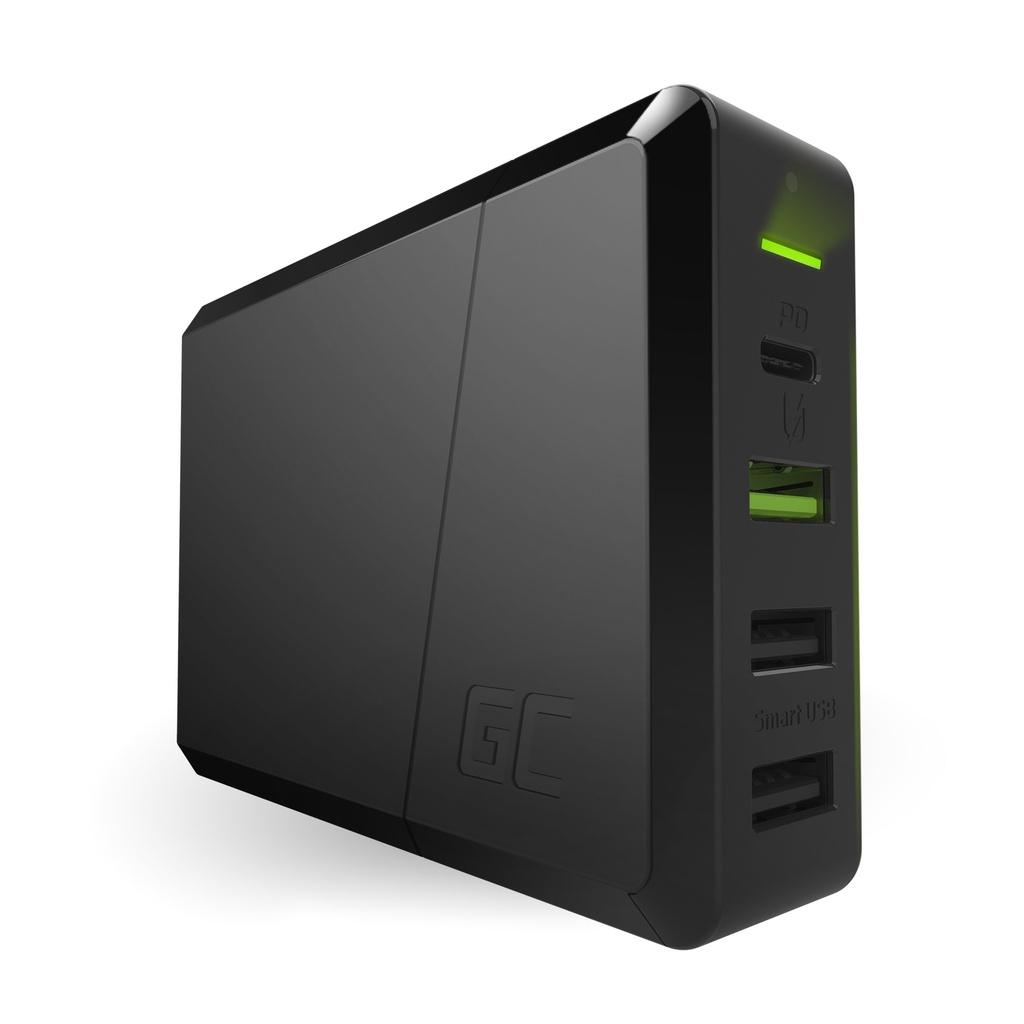 Green Cell Vir napajanja 75W 4-vratni polnilnik USB-C PD z ultrabook polnjenjem in tehnologijo Ultra Charge