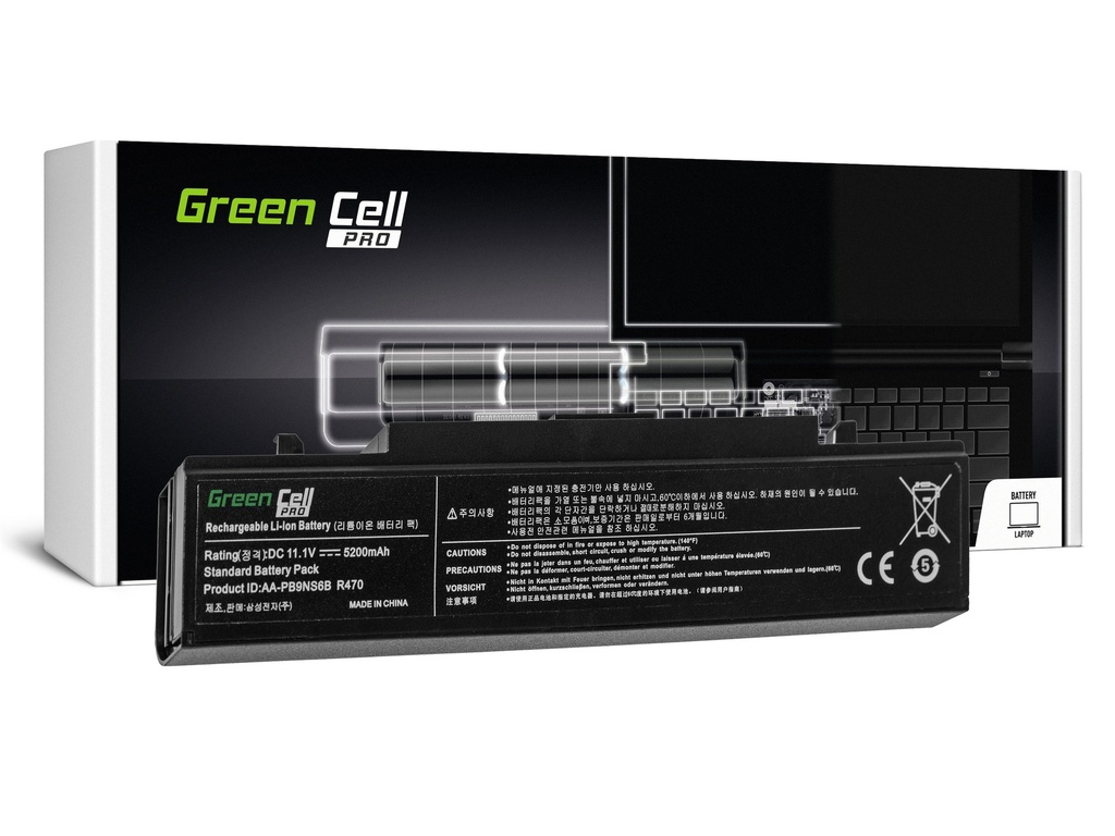Green Cell PRO baterija za Samsung R519 R522 R530 R540 R580 R620 R719 R780 (črna) / 11,1V 5200mAh