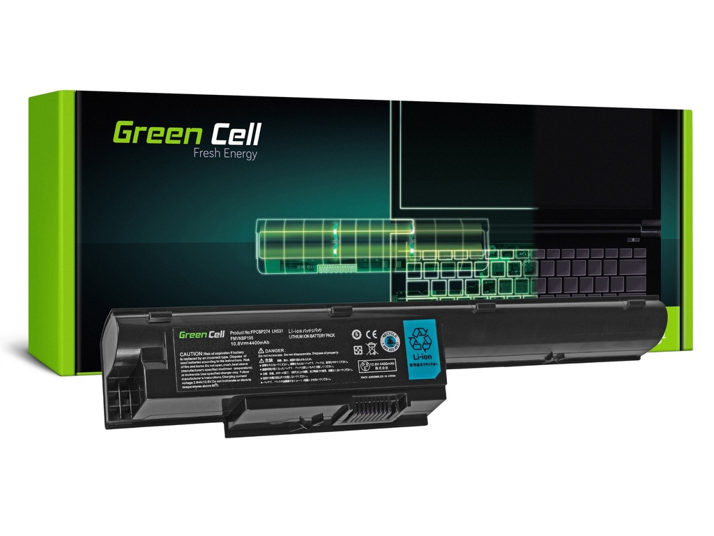 Baterija Green Cell za Fujitsu-Siemens LifeBook BH531 LH531 SH531 / 11,1V 4400mAhh